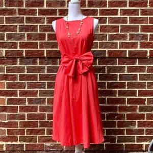 NWT Ann Taylor Tie-Front Coral Midi Dress